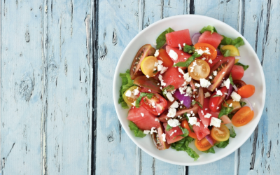 Sweet Cherry Tomato, Watermelon, Mint and Basil Salad, with Feta Cheese