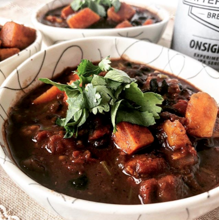Smoky Sweet Potato, Black Bean and Dark Chocolate Chili