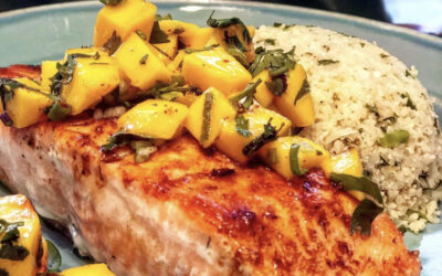Seared Salmon with fermented Black Bean Sauce and Ataulfo Mango Salsa