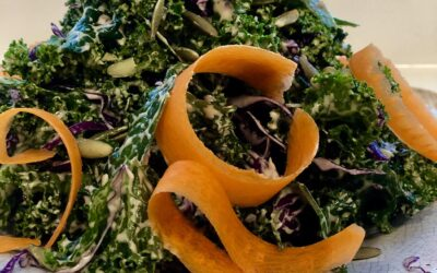 Vegan Kale Caesar Salad with Green Onions and Lemon Zest